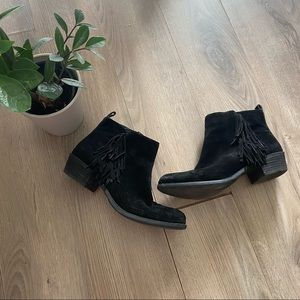 Vince Camuto Black Suede Ankle Booties with Fringe